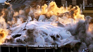 The Georgia Dome is destroyed in a scheduled implosion Monday, Nov. 20, 2017, in Atlanta. The dome was not only the former home of the Atlanta Falcons but also the site of two Super Bowls, 1996 Olympic Games events and NCAA basketball tournaments among other major events. (Curtis Compton/Atlanta Journal-Constitution via AP)
