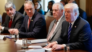 President Donald Trump announces that the United States will designate North Korea a state sponsor of terrorism during a cabinet meeting at the White House, Monday, Nov. 20, 2017, in Washington. (AP Photo/Evan Vucci)