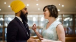 Federal NDP Leader Jagmeet Singh and Chief of Staff, Willy Blomme chat prior to having their portrait taken before the Broadbent Institute's Progress Gala in Toronto on Thursday, November 16, 2017. THE CANADIAN PRESS/Christopher Katsarov