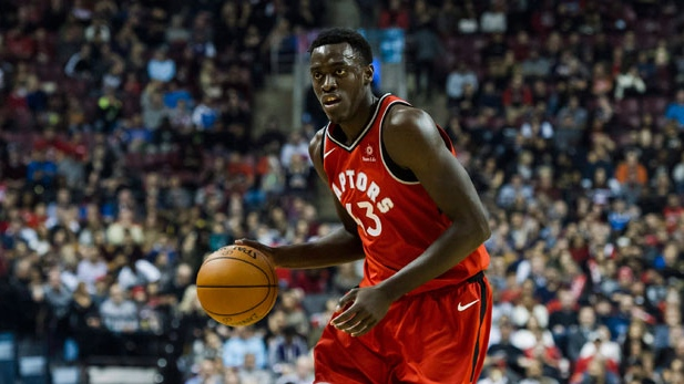 Toronto Raptors forward Pascal Siakam (43) dribbles towards the basket during first half NBA basketball action against the Washington Wizards in Toronto on Sunday, November 19, 2017. THE CANADIAN PRESS/Christopher Katsarov