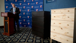 In this Tuesday, June 28, 2016, file photo, with two Ikea dressers displayed at right, Consumer Product Safety Commission (CPSC) Chairman Elliot Kaye speaks during a news conference at the National Press Club in Washington. (AP Photo/Carolyn Kaster, File)