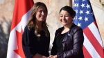 Italian Cabinet Undersecretary and Minister for Equal Opportunities Maria Elena Boschi, right, poses with Canadian Minister of Status of Women Maryam Monsef, prior the G7 Gender Equality Summit in Taormina, Italy, Wednesday, Nov. 15, 2017. (Orietta Scardino/ANSA via AP)