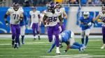 Minnesota Vikings running back Latavius Murray (25) breaks downfield during the second half of an NFL football game against the Detroit Lions, Thursday, Nov. 23, 2017, in Detroit. (AP Photo/Rick Osentoski)