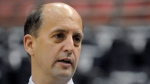 In this May 26, 2010, file photo, television NBA analyst Jeff Van Gundy talks before Game 5 between the Boston Celtics and Orlando Magic in the NBA Eastern Conference basketball finals in Orlando, Fla. Van Gundy is coaching the U.S. team in qualifying for the basketball World Cup. (AP Photo/Phelan M. Ebenhack, File)