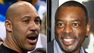 "This combination photo shows LaVar Ball, father of UCLA basketball player LiAngelo Ball, left, one of three student players recently arrested in China for shoplifting, and actor LeVar Burton, who is being mistaken for Ball by some supporters of President Donald Trump. Trump tweeted that Ball was an ""ungrateful fool"" for not being more appreciative of presidential intervention in LiAngelo Ball's case. Some of the president's followers in turn attacked Burton on Twitter, with one calling him a ""has been actor with a thief for a son."" (AP Photo/File)"