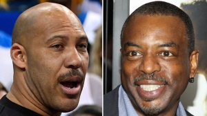 This combination photo shows LaVar Ball, father of UCLA basketball player LiAngelo Ball, left, one of three student players recently arrested in China for shoplifting, and actor LeVar Burton, who is being mistaken for Ball by some supporters of President Donald Trump. (AP Photo/File)
