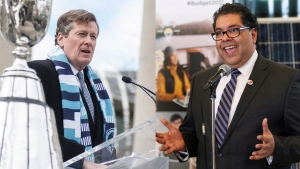 Toronto Mayor John Tory (left) and Calgary Mayor Naheed Nenshi are pictured in this composite image.  (The Canadian Press)