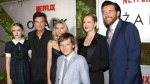 "Julia Garner, from left, Jason Bateman, Sofia Hublitz, Skylar Gaertner, Laura Linney and Jason Butler Harner attend the premiere screening of Netflix's ""Ozark"" at Metrograph on Thursday, July 20, 2017, in New York. (Photo by Greg Allen/Invision/AP)"