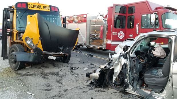 One person seriously injured after crash involving school bus
