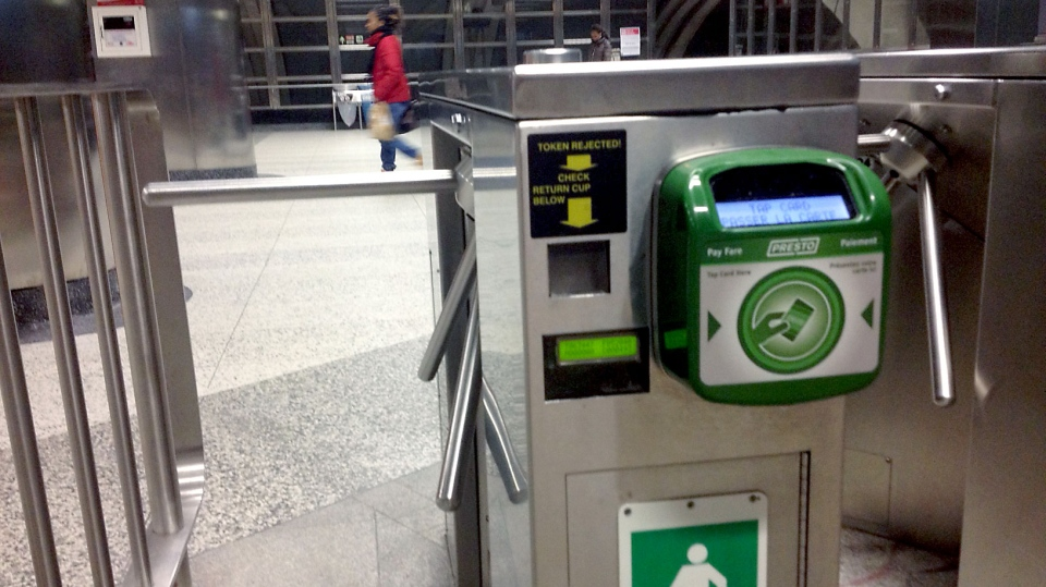 A Presto card reader is pictured at Downsview Station Tuesday November 25, 2014. (Joshua Freeman /CP24)