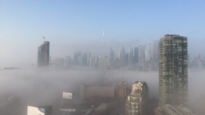 The Toronto skyline is covered in fog in this Dec. 3, 2017 photo. (Ian Caldwell/ CTV News Toronto)