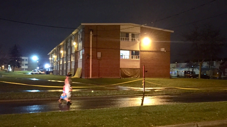 One person is dead, two others are critically injured after a fire in Lawrence Heights on Monday night. (Mike Nguyen/ CP24)