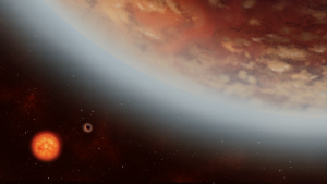 The massive world -- officially named K218b -- was discovered in 2005. In the new findings, researchers learned that the rocky planet is about 2.5 times bigger than Earth and orbits within the ideal zone for hosting water or ice. (Illustration by Alex Boersma)