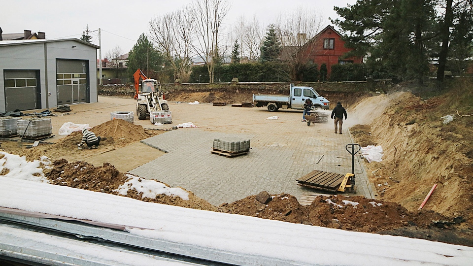 This photo from Dec. 5, 2017, shows building and parking lot that are being built on the site of an old Jewish cemetery. (Aleksander Schwarz/The Union of Jewish Communities in Poland via AP)
