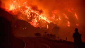 The Thomas fire burns through Los Padres National Forest near Ojai, Calif., on Friday, Dec. 8, 2017. (AP Photo/Noah Berger)