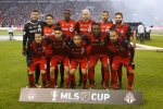 Toronto FC starting lineup poses for a photo prior to MLS Cup Final soccer action against the Seattle Sounders in Toronto on Saturday, December 9, 2017. THE CANADIAN PRESS/Mark Blinch