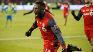 Toronto FC forward Jozy Altidore (17) celebrates his goal against the Seattle Sounders during second half MLS Cup Final soccer action in Toronto on Saturday, December 9, 2017. THE CANADIAN PRESS/Mark Blinch