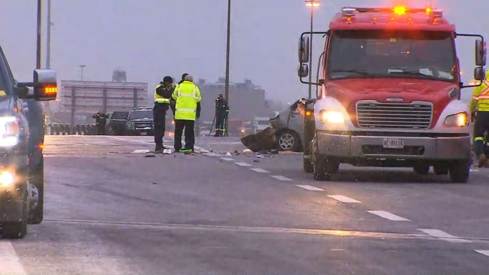 Police are investigating the cause of a fatal crash on Highway 401 in Etobicoke.