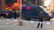 The New York Police Department says it is responding to a report of an explosion near Times Square. (APTN)