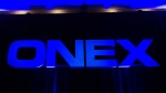 The Onex Corporation logo is displayed at the company's annual general meeting in Toronto on Thursday, May 10, 2012. THE CANADIAN PRESS/Nathan Denette