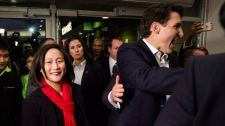 Justin Trudeau joins Liberal candidate Jean Yip and meets a crowd in Toronto on Wednesday, November 22, 2017. THE CANADIAN PRESS/Christopher Katsarov