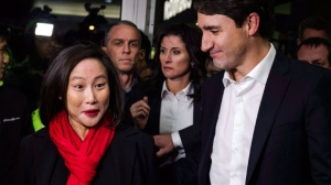 Justin Trudeau joins Liberal candidate Jean Yip in Toronto on Wednesday, November 22, 2017. THE CANADIAN PRESS/Christopher Katsarov