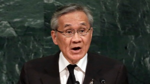 FILE - IN this Friday, Sept. 22, 2017, file photo, Foreign Minister Don Pramudwinai of Thailand addresses the United Nations General Assembly, at U.N. headquarters. O(AP Photo/Richard Drew, FIle)