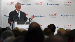 Secretary of State Rex Tillerson speaks at the 2017 Atlantic Council-Korea Foundation Forum in Washington, Tuesday, Dec. 12, 2017. (AP Photo/Susan Walsh)