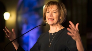 In this Jan. 10, 2015 file photo, Minnesota Democratic Lt. Gov. Tina Smith speaks to attendees at the North Star Ball in St. Paul, Minn. (Aaron Lavinsky/Star Tribune via AP, File)