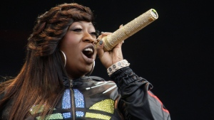 In this Saturday, July 3, 2010 file photo, Missy Elliot performs onstage at the Wireless Festival in Hyde Park, London. (AP Photo/Joel Ryan, File)