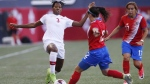 Canada's Kadeisha Buchanan (left) defends against Costa Rica's Lixy Rodriguez (12) during first half soccer action of a friendly match in Winnipeg, Thursday, June 8, 2017. Buchanan has been named as Canada's female soccer player of the year.THE CANADIAN PRESS/John Woods
