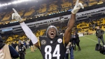 Pittsburgh Steelers wide receiver Antonio Brown (84) celebrates a 39-38 win over the Baltimore Ravens in an NFL football game in Pittsburgh, Monday, Dec. 11, 2017. The Steelers won the clinched the AFC North Championship with the win. (AP Photo/Don Wright)