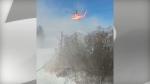 Emergency crews respond to a helicopter crash near Tweed, Ontario Thursday, December 14, 2017. (@peacheespirit /Twitter)