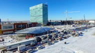 The TTC's new Vaughan Station as seen from drone footage on Dec. 15, 2017.