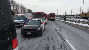 Emergency vehicles are shown on Highway 403 near Mavis Road after a serious collision. (Kerry Schmidt/OPP)