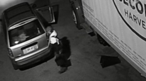 A man is seen handling a truck battery next to a Second Harvest truck in a surveillance camera image. (Second Harvest)
