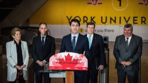 Prime Minister Justin Trudeau makes remarks during a ceremony for the opening of the York University subway station, in Toronto on Friday, Dec. 15, 2017. THE CANADIAN PRESS/Aaron Vincent Elkaim