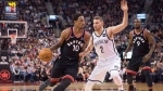 Toronto Raptors guard DeMar DeRozan (10) drives to the net against Brooklyn Nets guard Nik Stauskas (2) as Raptors forward Serge Ibaka (9) looks on during second half NBA basketball action in Toronto on Friday, December 15, 2017. THE CANADIAN PRESS/Frank Gunn