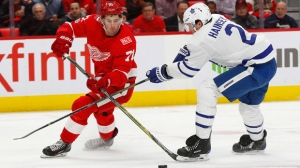Detroit Red Wings center Dylan Larkin (71) shoots as Toronto Maple Leafs defenseman Ron Hainsey (2) defends in the second period of an NHL hockey game Friday, Dec. 15, 2017, in Detroit. (AP Photo/Paul Sancya)