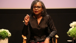 In this Dec. 8, 2017 file photo, Anita Hill speaks at a discussion about sexual harassment and how to create lasting change from the scandal roiling Hollywood at United Talent Agency in Beverly Hills, Calif. Hollywood executives and other major players in entertainment have established a commission to be chaired by Hill that intends to combat sexual misconduct and gender inequities across the industry. A statement Friday, Dec. 15, 2017, announced the founding of the Commission on Sexual Harassment and Advancing Equality in the Workplace. (Photo by Willy Sanjuan/Invision/AP, File)