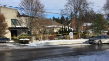 Police tape surrounds the home of billionaire Barry Sherman on Saturday, Dec. 17 2017, in Toronto. Sherman and his wife were found dead in the Toronto mansion on Friday, Dec. 16. Police are investigating the deaths as suspicious. (AP Photo/Robert Gillies)
