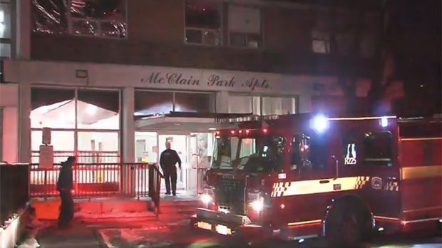 Toronto firefighters extinguished a two-alarm blaze at an apartment building in Scarborough.