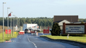 "FILE - This is a Jan. 8, 2015 file photo of U.S.Air Force Base, RAF Mildenhall in Suffolk Eastern England. British police said Monday dec. 18, 2017 that they are responding to a ""significant"" incident at a Royal Air Force base used by the U.S. Air Force. Police say it happened at RAF Mildenhall and has urged the public to stay away from the area for the time being. Police say that further details will be released shortly. (Chris Radburn/PA File, via AP)"