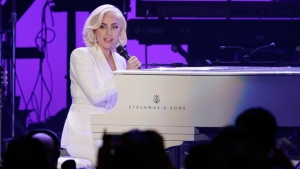 Lady Gaga performs during a hurricanes relief concert in College Station, Texas, Saturday, Oct. 21, 2017. (AP Photo/LM Otero)