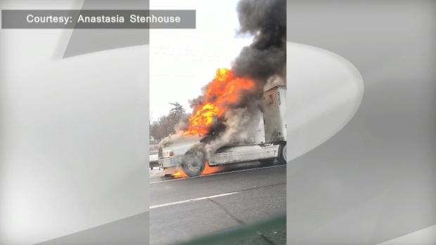 Truck fire closes Fort Erie-bound QEW in Grimsby | CP24 com