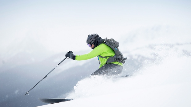 A skier is seen on Whistler Mountain in Whistler, B.C. March, 12, 2015.  THE CANADIAN PRESS/Jonathan Hayward