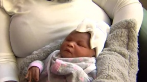 Baby Shiloh, the first baby believed to have been born in Canada in 2018, is pictured at St. Michael's hospital January 1, 2018.