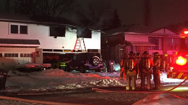 Fire crews are at the scene of a house fire in Mississauga. (Mike Nguyen/ CP24)