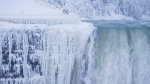 Ice and water flows over the brink of the Horseshoe Falls in Niagara Falls, Ont., as cold weather continues through much of the province, Tuesday, January 2, 2018. THE CANADIAN PRESS/Aaron Lynett