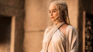 "In this image released by HBO, Emilia Clarke as Daenerys Targaryen appears in a scene from ""Game of Thrones."" (Helen Sloane/HBO via AP)"